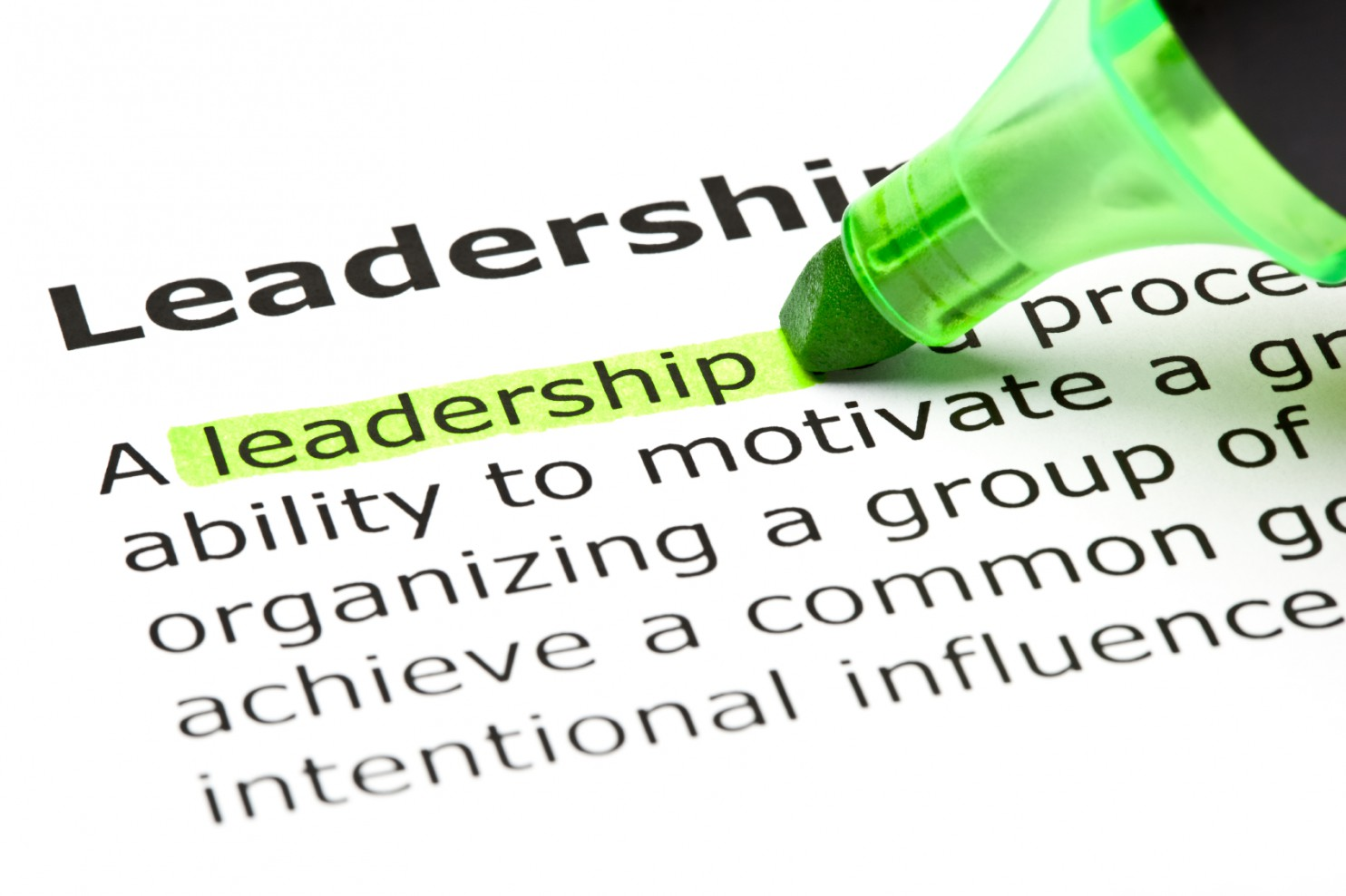 The word 'Leadership' highlighted in green with felt tip pen