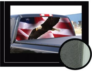 American flag and blad eagle truck rear window decal