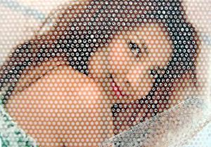 picture of girl through perforations - perforated