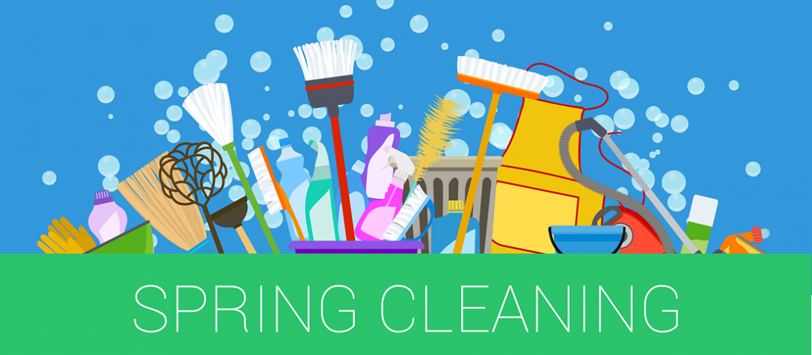 Spring Cleaning - with cleaning supplies and bubbles in the air