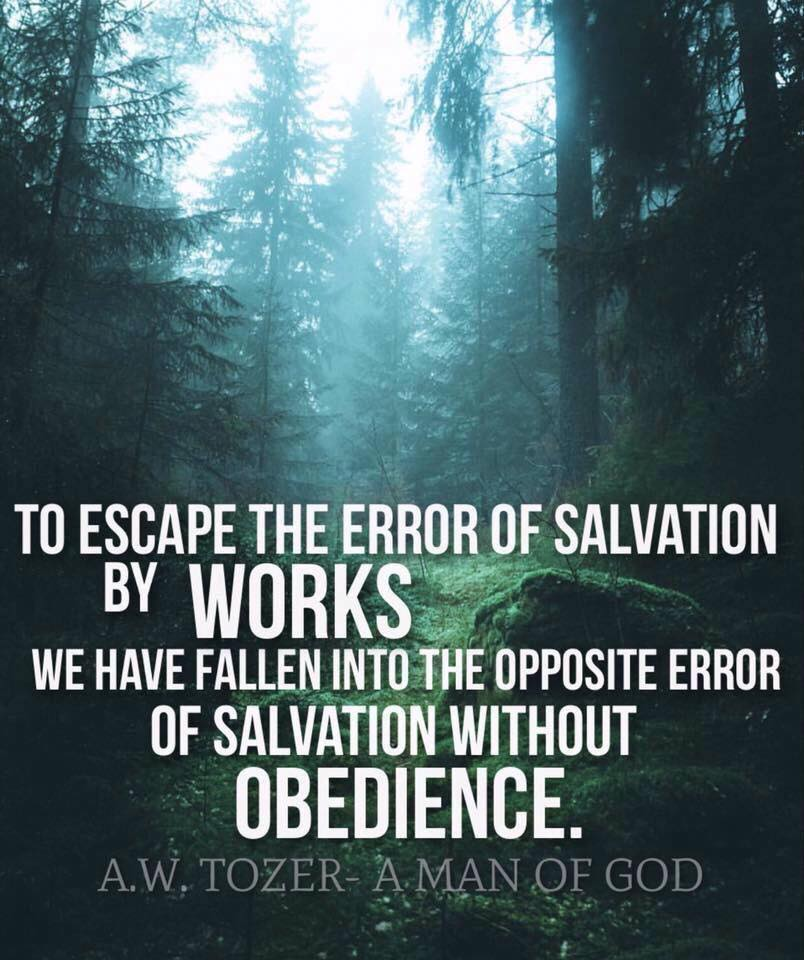 """To escape the error of salvation by works we have fallen into the opposite error of salvation without obedience."" — A. W. Tozer"