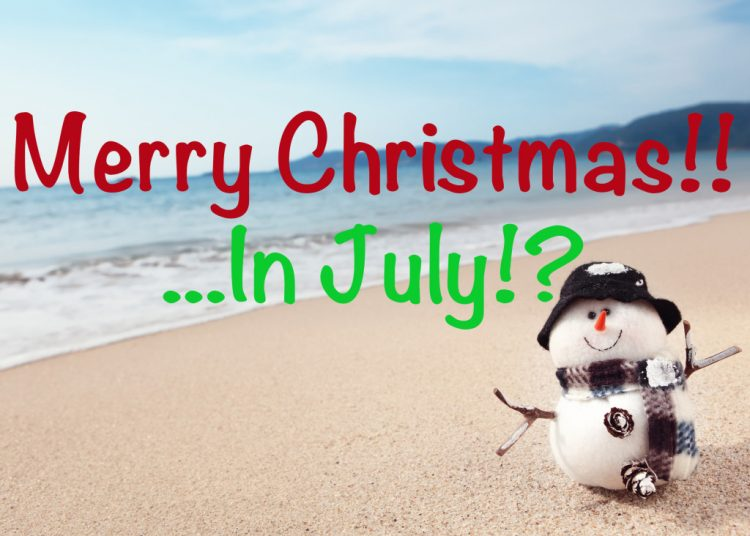 Merry Christmas...in July? - snowman on beach