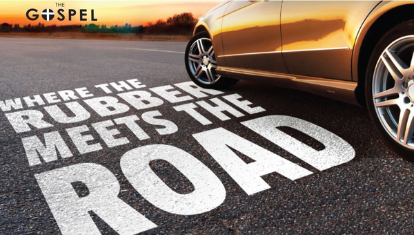 The Gospel - Where the rubber meets the road - sports car on asphalt